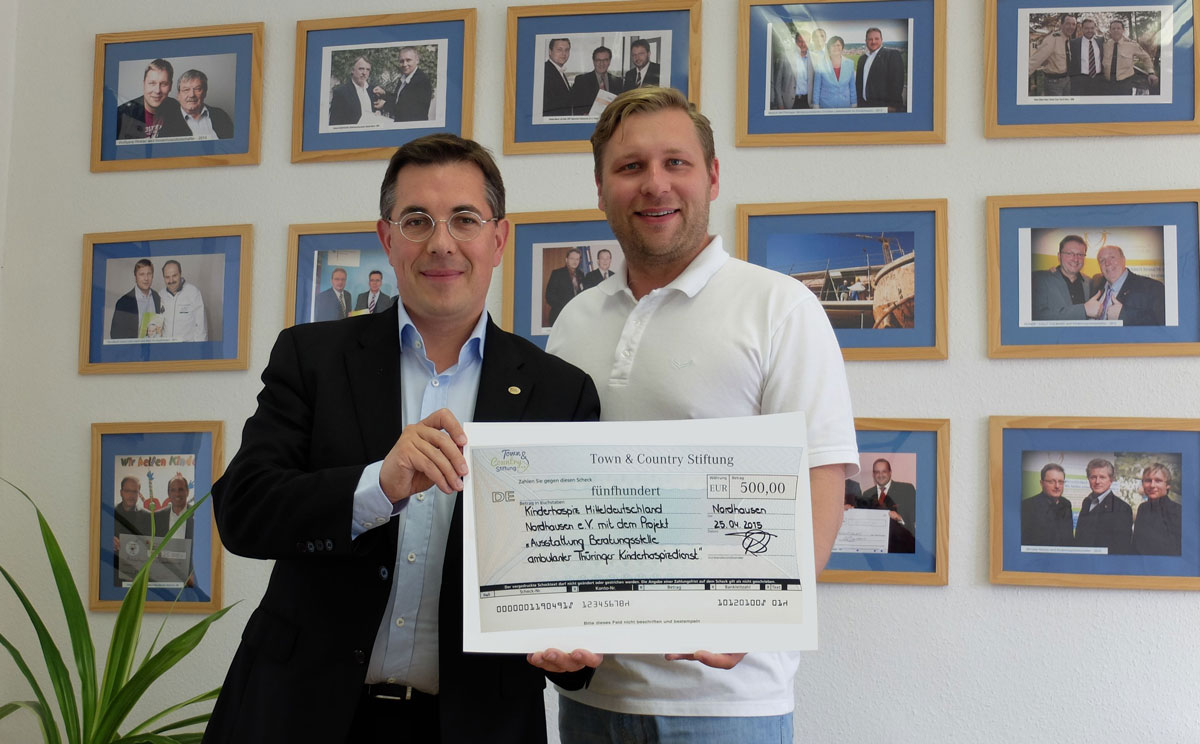 Town & Country Stiftung unterstützt Kinderhospiz Mitteldeutschland Nordhausen e.V. mit 500 Euro