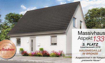 """Hausmedaille in Bronze für Massivhaus """"Aspekt 133"""""""